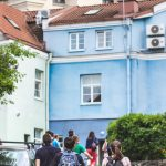 Part of Vilnius Free Tour, colourful courtyard of Vilnius