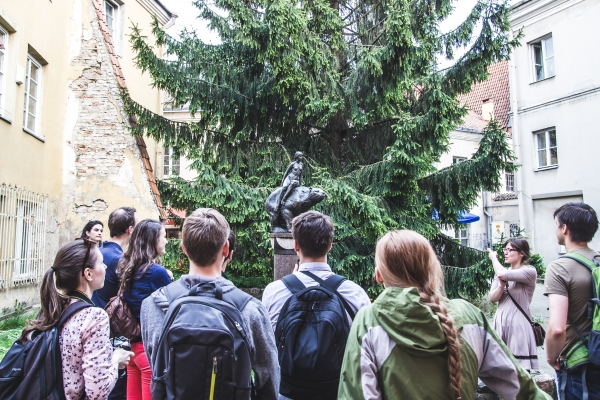 Part of Vilnius Free Tour. Lithuanian pagan God of Forest Courtyard.