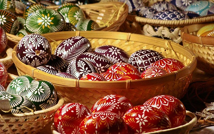 Easter in Vilnius. Traditional Lithuanian decorated eggs.