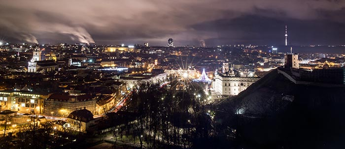 Vilnius city lights in winter
