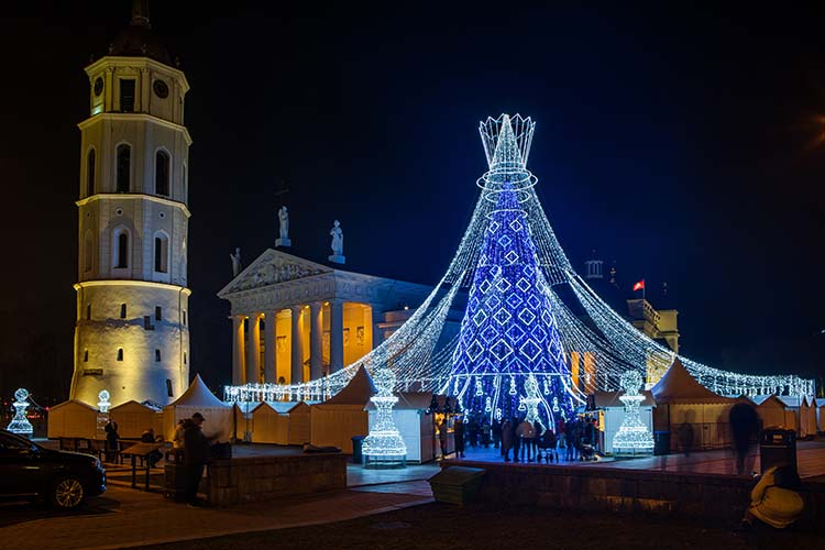 Vilnius Christmas tree 2019 near to the meeting point of Vilnius Free Walking tours